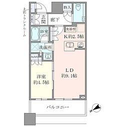 JR山手線 目黒駅 徒歩2分の賃貸マンション 8階1LDKの間取り