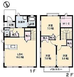 アブニール西原 B棟[2階]の間取り