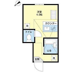 東京都品川区戸越5丁目の賃貸アパートの間取り