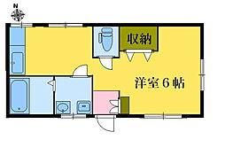 ハウスはぎわら[2階号室]の間取り