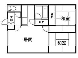 第5竹道ハイツ 1階2LDKの間取り