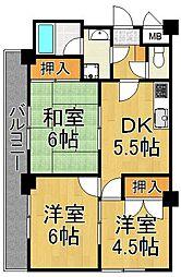 セシル富松[3階]の間取り