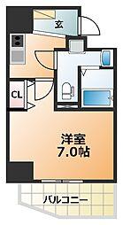 エグゼ阿倍野 6階1Kの間取り