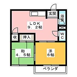 コーポむらたA[2階]の間取り