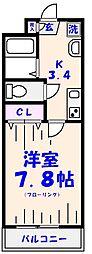 K.Y南八幡[2階]の間取り