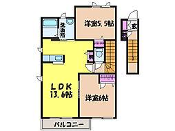 愛媛県松山市安城寺町の賃貸アパートの間取り