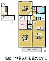 愛知県名古屋市千種区東山元町5丁目の賃貸アパートの間取り