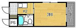 大阪府茨木市春日5丁目の賃貸マンションの間取り