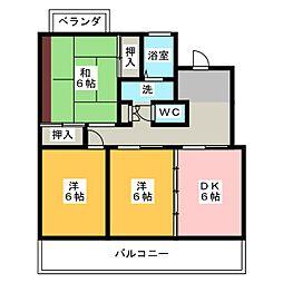 レイクリバー安西II[1階]の間取り