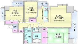 仙台市営南北線 河原町駅 徒歩4分の賃貸マンション 10階3LDKの間取り