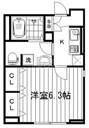 JR中央線 中野駅 徒歩14分の賃貸マンション 1階1Kの間取り
