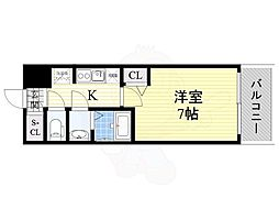リッツ新大阪 10階1Kの間取り