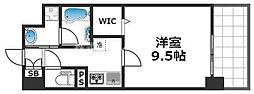 グランパシフィック花園Luxe 10階1Kの間取り