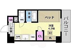 阪急京都本線 西京極駅 徒歩13分の賃貸マンション 6階ワンルームの間取り