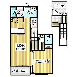 愛知県名古屋市中川区上脇町1丁目の賃貸アパートの間取り