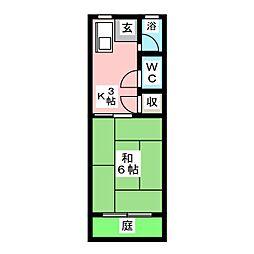 姫宮ハイツ[1階]の間取り