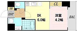 S-RESIDENCE阿波座WEST 10階1DKの間取り