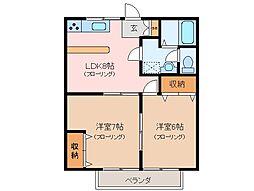 三重県松阪市中央町の賃貸アパートの間取り
