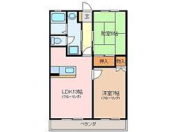 三重県松阪市高町の賃貸マンションの間取り