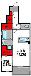 ラヴィアンローズ 1階1LDKの間取り