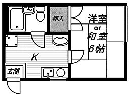 大阪府大阪市城東区成育3丁目の賃貸マンションの間取り