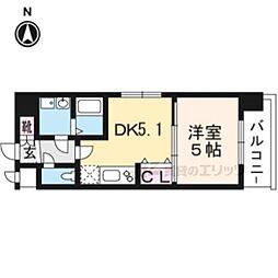 JR東海道・山陽本線 西大路駅 徒歩12分の賃貸マンション 6階1DKの間取り