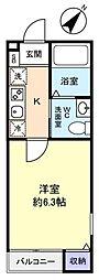 千葉県千葉市稲毛区天台2の賃貸アパートの間取り