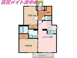 三重県津市川添町の賃貸アパートの間取り