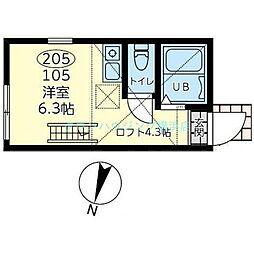 アマンレジデンス横濱 2階ワンルームの間取り