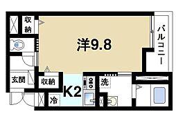 カーサ・ドマーニII 3階ワンルームの間取り