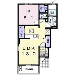 JR高徳線 徳島駅 4.4kmの賃貸アパート 1階1LDKの間取り