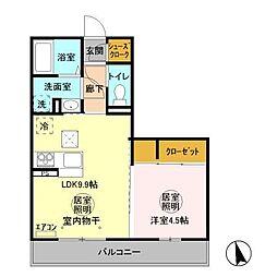 (仮称)D−room 中成沢町[201号室]の間取り