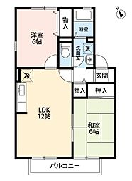 福岡県北九州市小倉南区南方4丁目の賃貸アパートの間取り