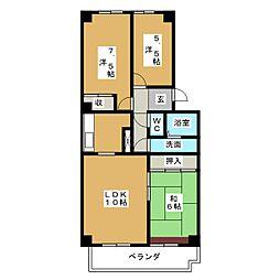 愛知県名古屋市千種区丸山町3丁目の賃貸マンションの間取り