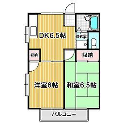 富士美荘[203号室]の間取り
