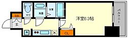 プレサンス谷町九丁目ディセオ 9階1Kの間取り
