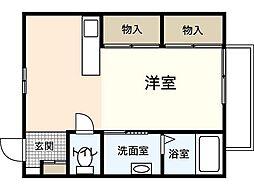 JR山陽本線 広島駅 バス15分 羽衣町下車 徒歩4分の賃貸アパート 3階ワンルームの間取り