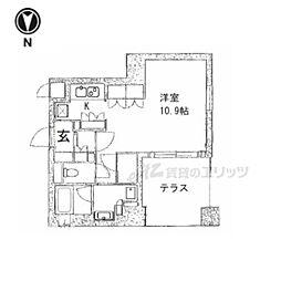 京都市営烏丸線 五条駅 徒歩13分の賃貸マンション 1階1Kの間取り