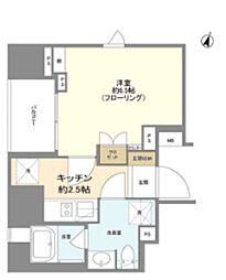 ライオンズ千代田岩本町ミレス 3階1Kの間取り