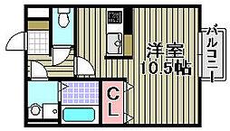 シェルズレイク日根野C[203号室]の間取り