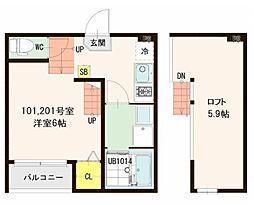 JR東北本線 東仙台駅 徒歩6分の賃貸アパート 1階1Kの間取り