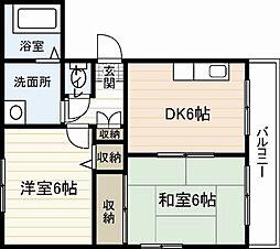広島電鉄6系統 江波駅 徒歩9分の賃貸マンション 4階2DKの間取り