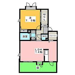 アーバン西田[1階]の間取り