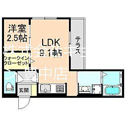 阪急宝塚本線 曽根駅 徒歩5分の賃貸アパート 1階1SLDKの間取り