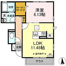(仮)D-room湘南台AB A 1階1LDKの間取り