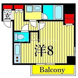 ジェノヴィア木場スカイガーデン 5階ワンルームの間取り