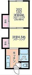 神奈川県横浜市鶴見区馬場4丁目の賃貸アパートの間取り