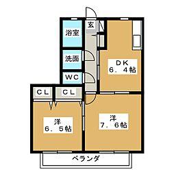 ファミーユ21 A[1階]の間取り