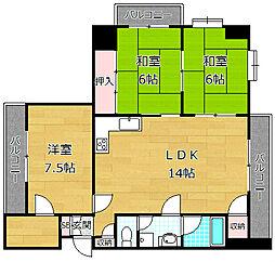 川島第20ビル枚方公園[11階]の間取り