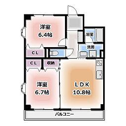 愛知県名古屋市西区城町の賃貸マンションの間取り